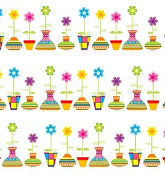 Rows of flower pots seamless background vector image