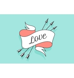 Old vintage ribbon banner with text love in vector