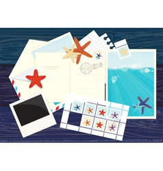 Photos postcards mails and starfish stickers vector image