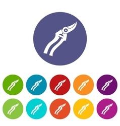 Garden shears set icons vector