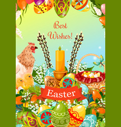 Easter spring holiday cartoon greeting card design vector