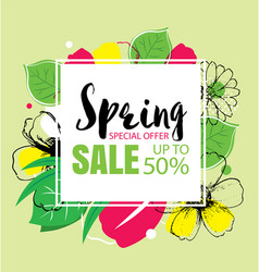 Spring sale banner template with colorful vector