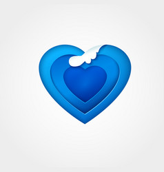 Blue paper heart with wave vector