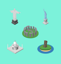 isometric architecture set of chile rio new york vector image