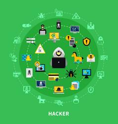 hacker round icons set vector image