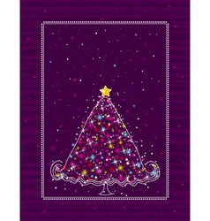 Christmas tree on the purple background vector