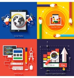 Icons for web design seo social media vector