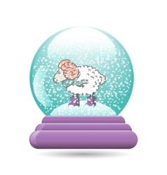 Snow globe with a christmas sheep vector