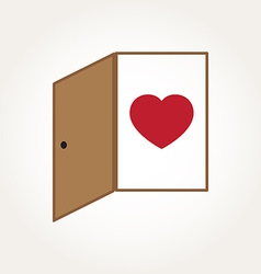 Love heart door open mind concept vector