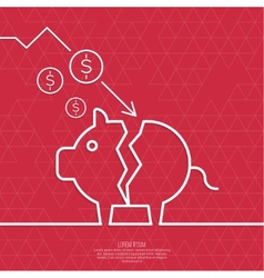 Broken pig piggy bank vector