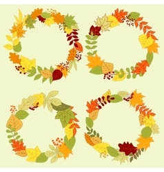 Autumn forest leaves wreaths and frames vector
