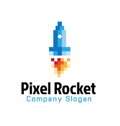 Pixel rocket design vector