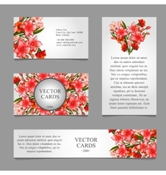 Cards with texture of pink lilies and text vector