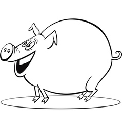 coloring page of funny farm pig vector image
