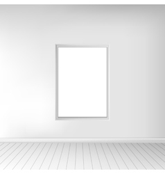 A spacious empty white room with a picture on the vector image