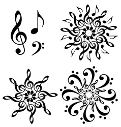 abstract music flowers set vector image vector image