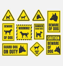beware of dog sign vector image vector image