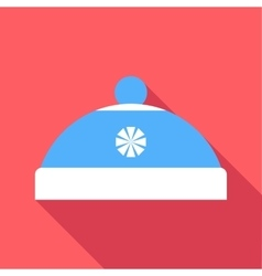Blue hat with pompom icon flat style vector