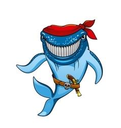 Cartoon blue whale pirate in bandanna and gun vector
