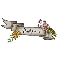 Decorative card with kraft ribbon and wildflowers vector