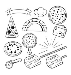 different monochrome elements for pizza banners vector image vector image