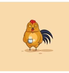 Emoji character cartoon cock nervous with cup of vector