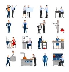Factory workers people icons set vector