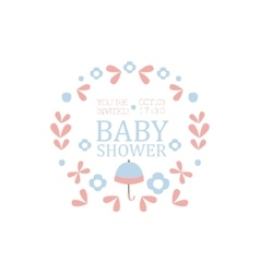 Floral baby shower invitation design template vector