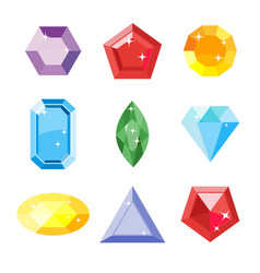 gem set icon gem ruby emerald sapphire vector image vector image