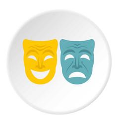Happy and sad mask icon circle vector