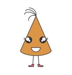 hat birthday celebration kawaii character vector image