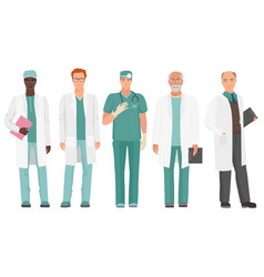 male doctor african american and caucasian doctor vector image vector image