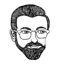 Male hipster Hand-drawn vector image