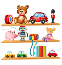 Many toys and books on wooden shelves vector