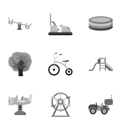 Play garden set icons in monochrome style big vector