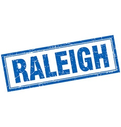 Raleigh blue square grunge stamp on white vector