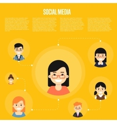 Social media banner with connected people vector image vector image