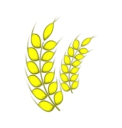 Two stalks of ripe barley icon cartoon style vector