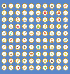 100 handicraft icons set cartoon vector image