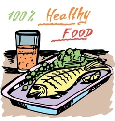 Healthy food a fish juice vector