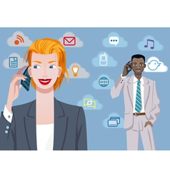 Caucasian businesswoman and black businessman vector