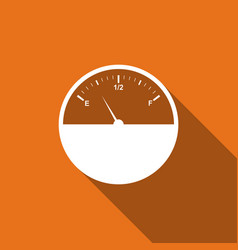 fuel gauge flat icon with long shadow vector image