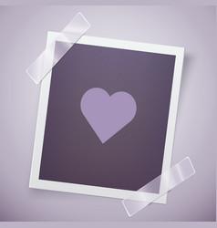 Retro photo frame with heart romantic concept vector