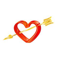 Golden arrow of love in heart vector