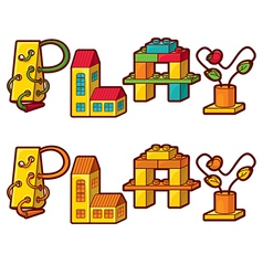 Word play letters made of toys vector