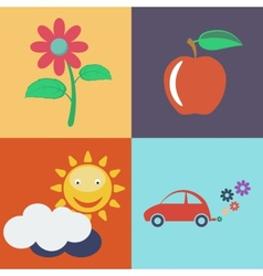 Flat Eco Concept Eco icons vector image