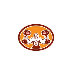 Man lifting dumbbell weight physical fitness retro vector