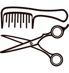 Scissors and comb vector image
