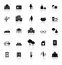 Retirement community icons with reflect on white vector