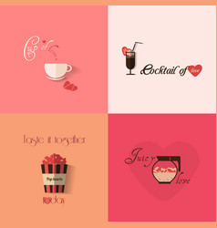 Valentines day greeting card design with set of vector